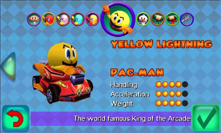 Pac-Man Kart Rally Menu Select