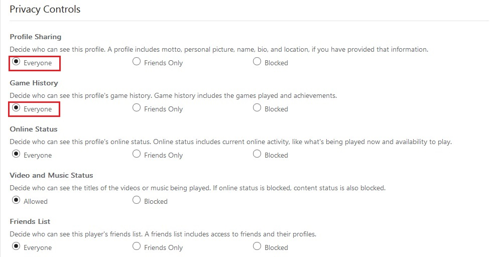 Privacy Settings xbox.com