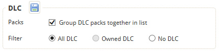 Choose whether to group DLC packs