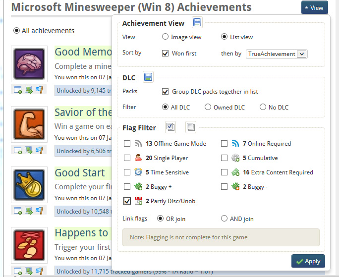 Finding the Unobtainable achievements in Minesweeper