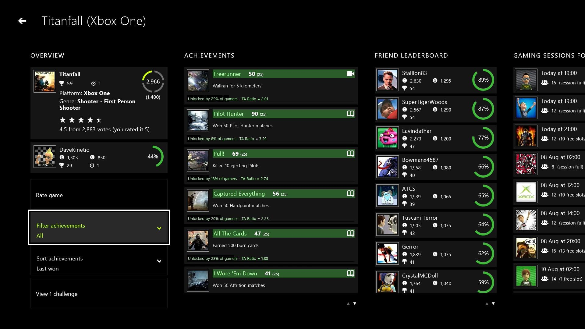 Game pages indicate which achievements have solutions, upcoming sessions etc