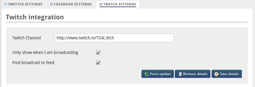 Twitch settings