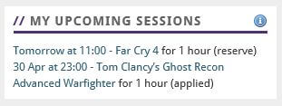 My upcoming sessions