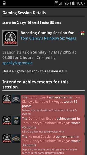 Gaming session - dark theme