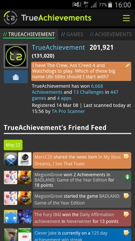 Gamer Tabs on Mobile - dark theme