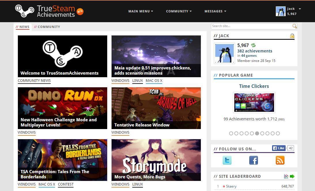 TrueSteam Achievements Homepage