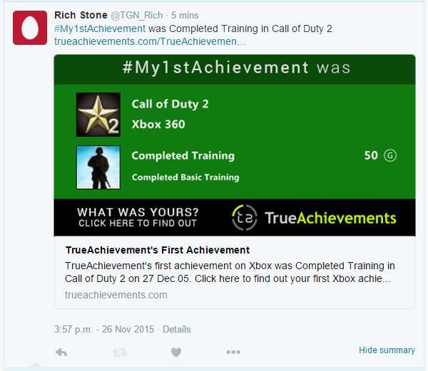 Sharing #My1stAchievement on Twitter