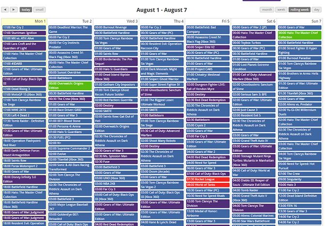 A tiny part of the Gaming Session Calendar