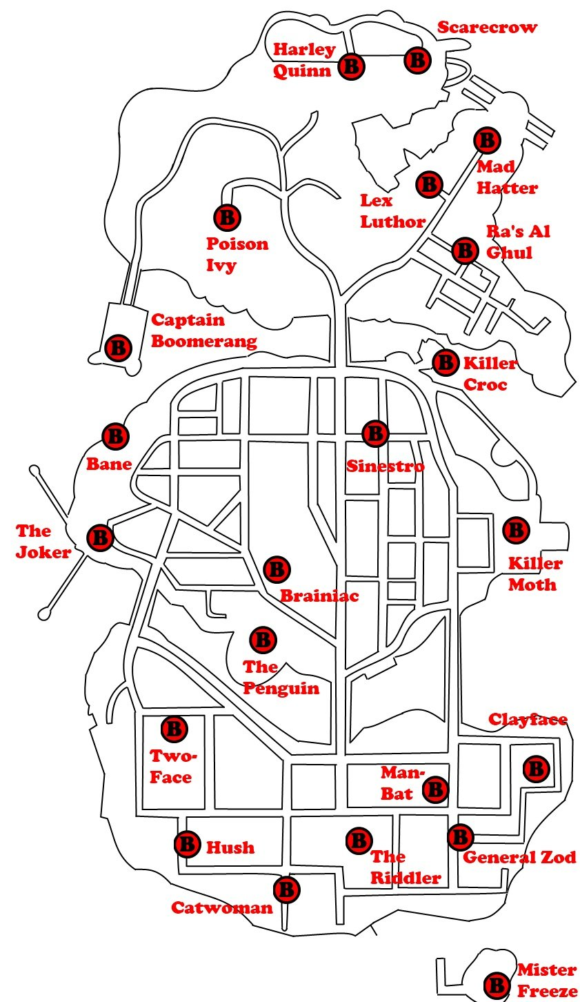 Locations of all Bosses in Gotham City.