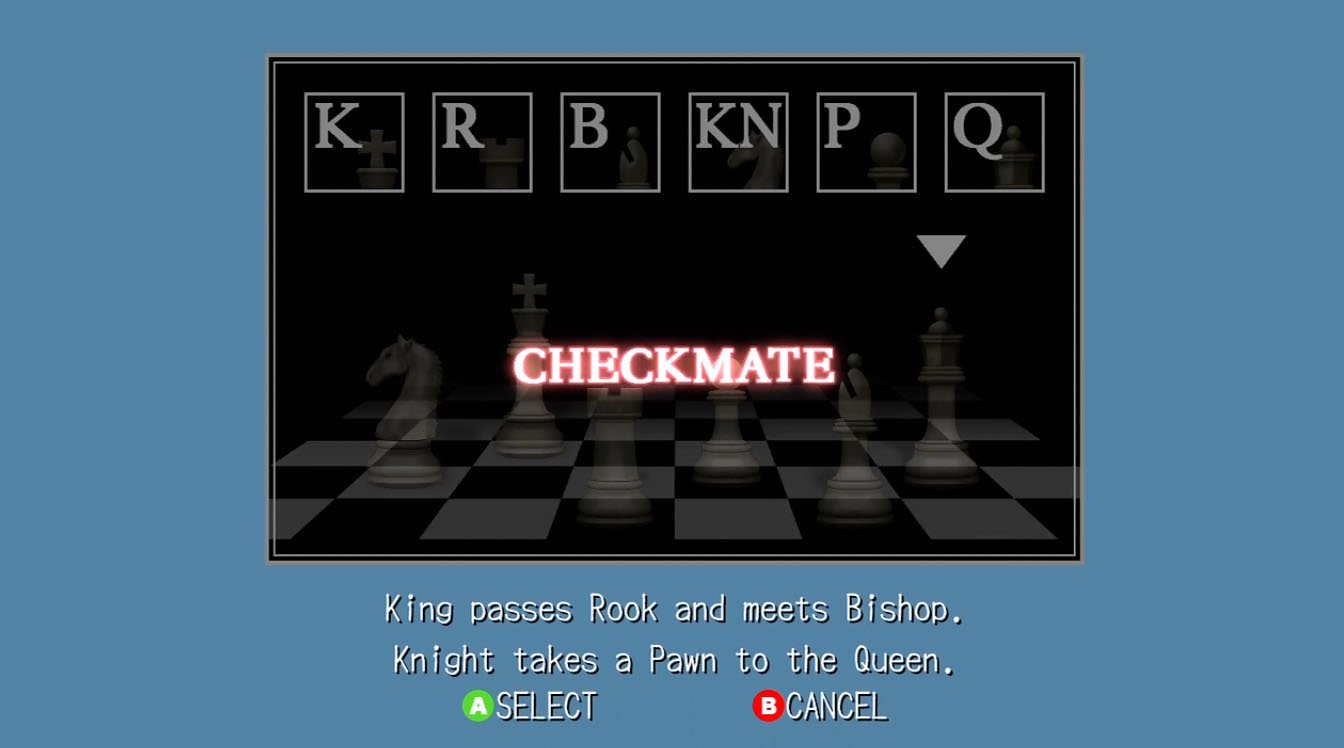 Deadly Premonition Walkthrough Page 3 Chess Checkmate Diagram Puzzle From The Of Pieces In This Order Displayed On Screen Are Left To Right Knight King Rook Pawn Bishop Queen