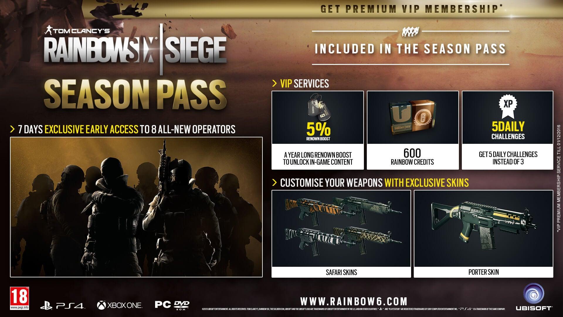 Season Pass Detailed for Rainbow Six: Siege