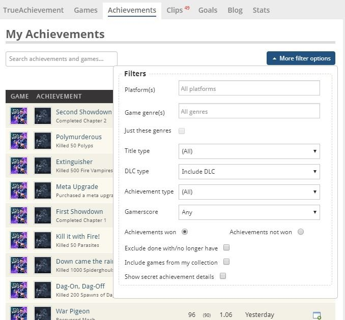 My achievements filters