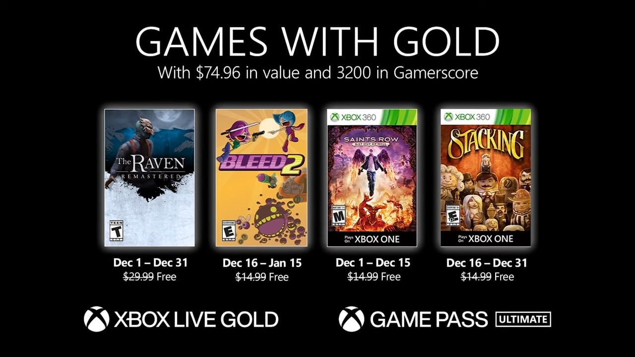 Xbox Games with Gold December