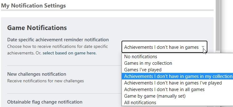 Achievement reminder notification setting