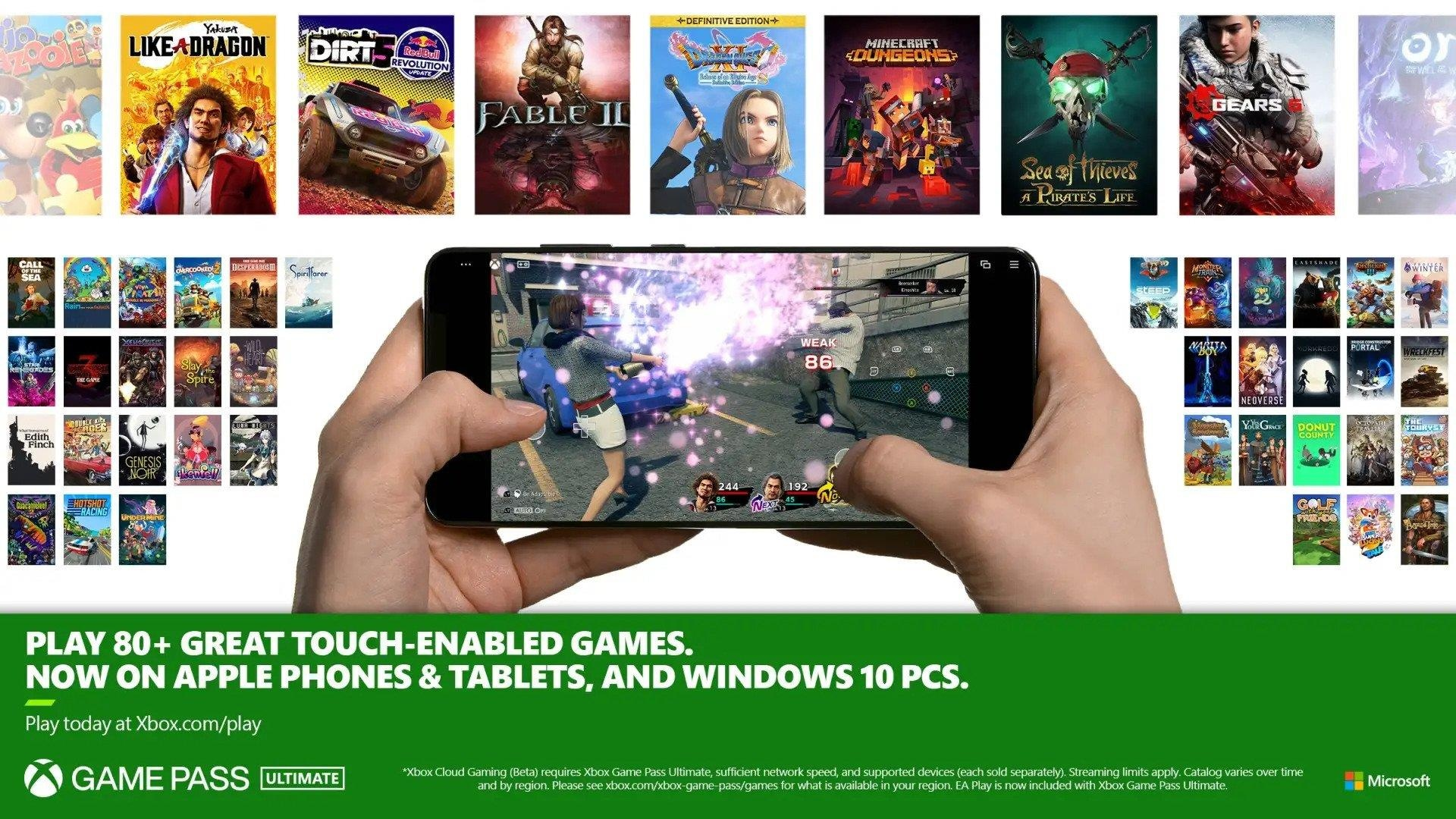 Xbox Cloud Gaming touch controls Xbox Game Pass Ultimate