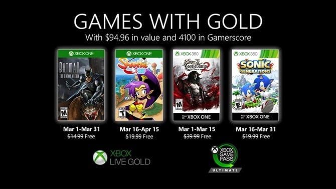 March Games with Gold: Batman: The Enemy Within, Sonic Generations and more