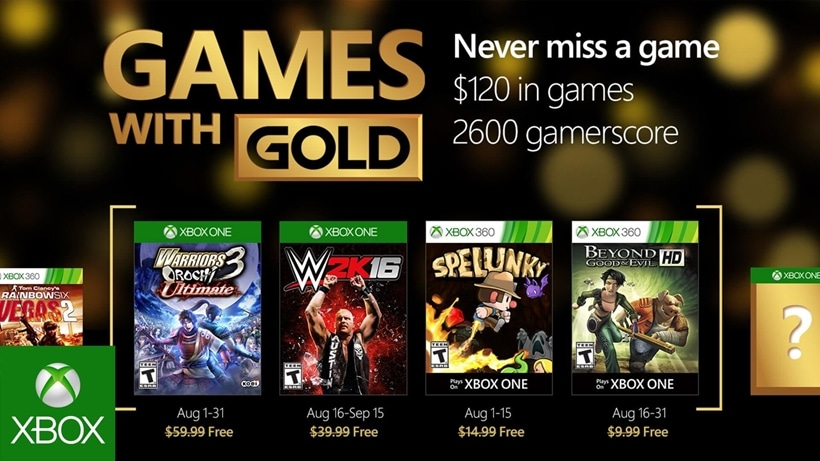 Games with Gold August 2016