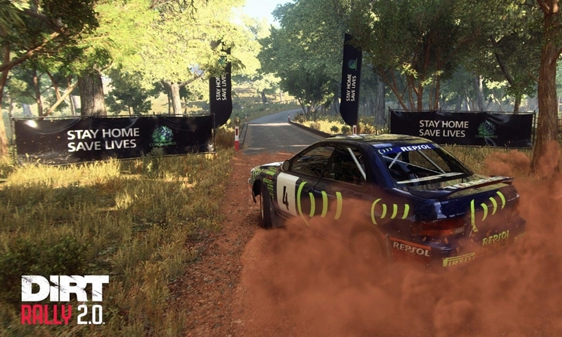 Codemasters DiRT Rally 2.0 stay at home save lives coronavirus message